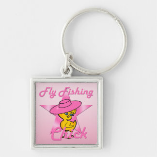 Fly Fishing Chick #8 Silver-Colored Square Keychain