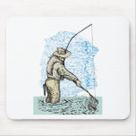 Fly fishing fisherman catching trout mousepad