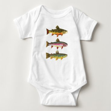 Toddler & Baby themed Fly Fishing for Trout Baby Bodysuit