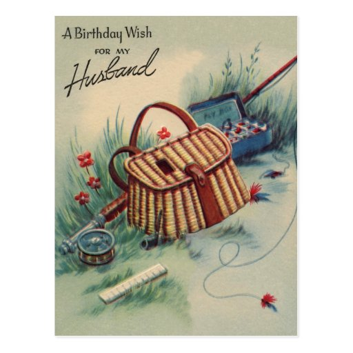 Fly Fishing Husband Birthday Postcard