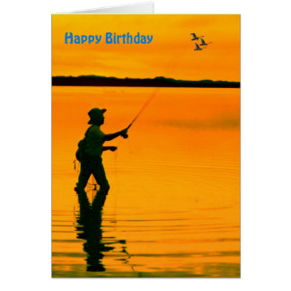 Fly fishing birthday cards zazzle for Fishing birthday cards