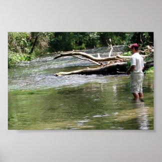 Fly Fishing in Dry Run Creek, Arkansas Print