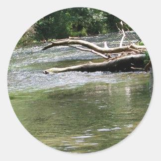 Fly Fishing in Dry Run Creek, Arkansas Round Sticker