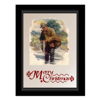 Fly fishing in the river postcard