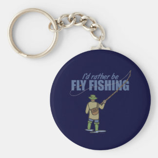 Fly Fishing in Waders Basic Round Button Keychain
