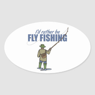 Fly Fishing in Waders Oval Sticker