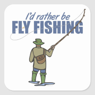 Fly Fishing in Waders Square Stickers