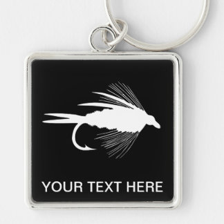 Fly Fishing lure to Personalize Silver-Colored Square Keychain