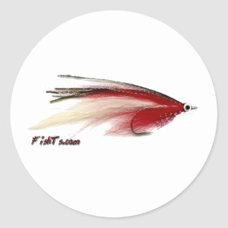 Fly Fishing Lures from the Tackle/Gear Collection Classic Round Sticker