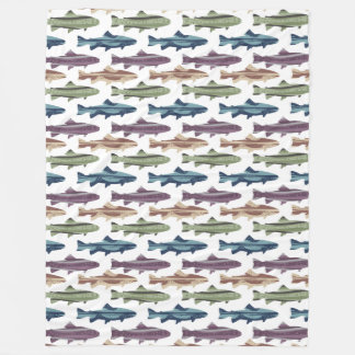 Fly Fishing Lures Pattern Fleece Blanket