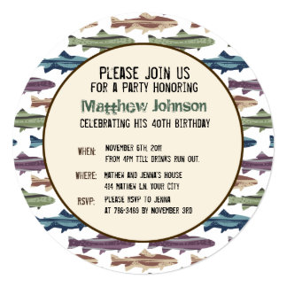 Fly Fishing Lures Pattern Invitation