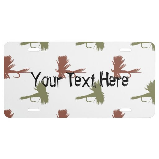 Fly fishing lures pattern license plate zazzle for How much is a one day fishing license