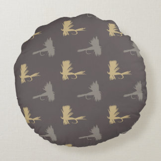 Fly Fishing Lures Pattern Round Pillow