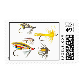 Fly Fishing Lures Postage Stamps