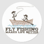 Fly Fishing Makes Life Better Round Sticker