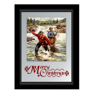 Fly fishing on the river postcard