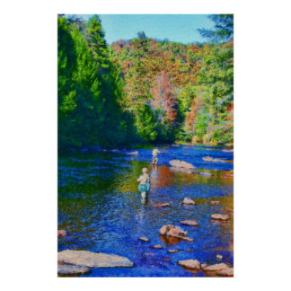 """""""Fly Fishing on the Toccoa"""" Poster"""
