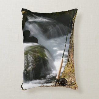 Fly Fishing Pillow - back says GONE FISHING Accent Pillow