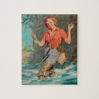 Fly Fishing Pin Up Art Jigsaw Puzzle
