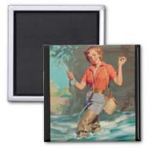 Fly Fishing Pin Up Art Magnet