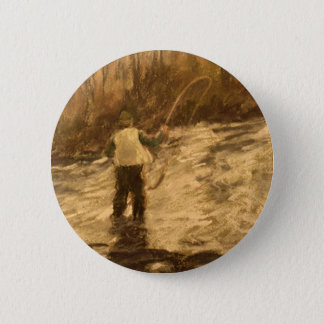Fly Fishing Pinback Button