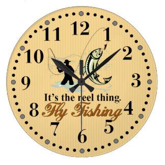 Fly Fishing Reel Thing Large Clock