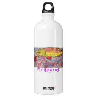 fly fishing rocks water bottle