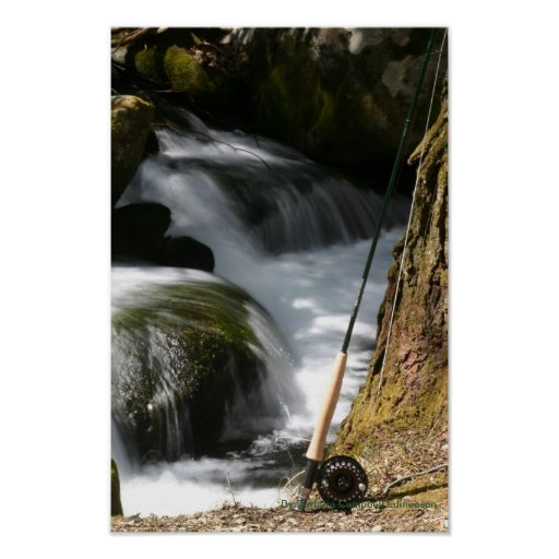 Fly fishing rod and stream poster zazzle for Fly fishing posters