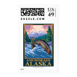 Fly Fishing Scene - Anchorage, Alaska Postage Stamps