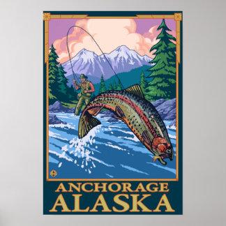 Fly Fishing Scene - Anchorage, Alaska Poster