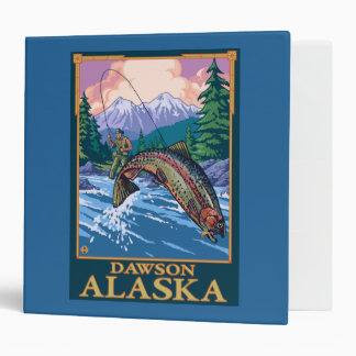 Fly Fishing Scene - Dawson, Alaska 3 Ring Binder