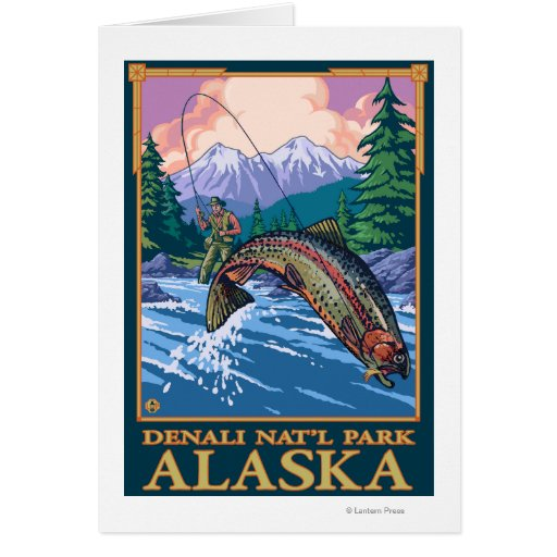 Fly Fishing Scene - Denali National Park, Alaska Greeting Cards