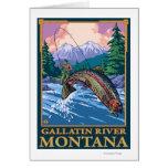 Fly Fishing Scene - Gallatin River, Montana Greeting Card
