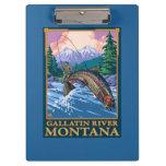 Fly Fishing Scene - Gallatin River, Montana Clipboard