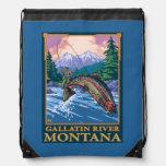 Fly Fishing Scene - Gallatin River, Montana Drawstring Backpack