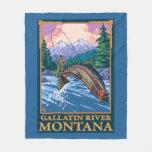 Fly Fishing Scene - Gallatin River, Montana Fleece Blanket