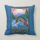 Fly Fishing Scene - Gallatin River, Montana Pillow