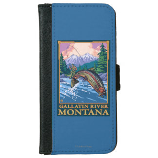 Fly Fishing Scene - Gallatin River, Montana iPhone 6 Wallet Case