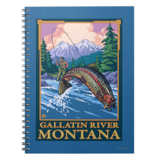 Fly Fishing Scene - Gallatin River, Montana Spiral Notebook