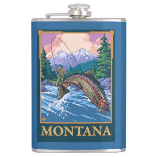 Fly Fishing Scene - Montana Flask