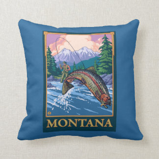 Fly Fishing Scene - Montana Throw Pillow