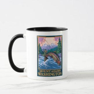 Fly Fishing Scene - Mount Adams, Washington Mug