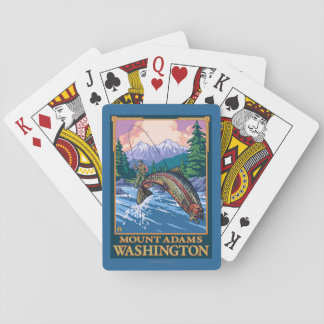 Fly Fishing Scene - Mount Adams, Washington Playing Cards