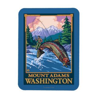 Fly Fishing Scene - Mount Adams, Washington Rectangular Photo Magnet