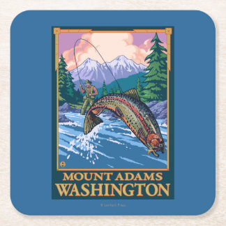 Fly Fishing Scene - Mount Adams, Washington Square Paper Coaster
