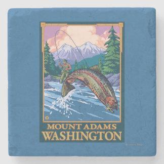 Fly Fishing Scene - Mount Adams, Washington Stone Coaster