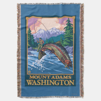 Fly Fishing Scene - Mount Adams, Washington Throw Blanket