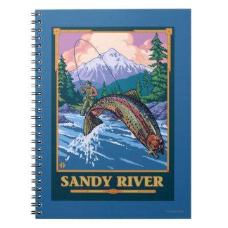 Fly Fishing Scene - Sandy River, Oregon Notebook