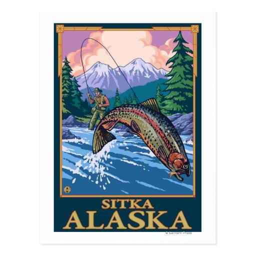 Fly Fishing Scene - Sitka, Alaska Post Cards