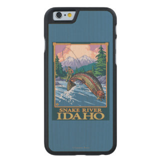 Fly Fishing Scene - Snake River, Idaho Carved Maple iPhone 6 Slim Case